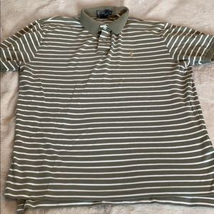 Polo Ralph Lauren Green and White Striped Polo